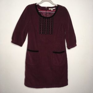 Boden Burgundy Corduroy Embroidered Dress Size 6P